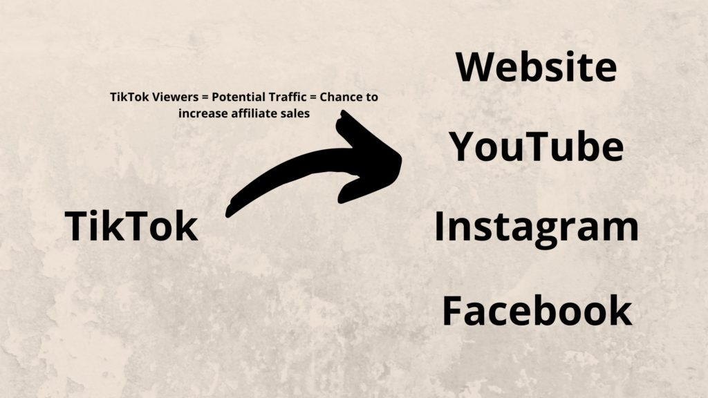 overview on how to drive traffic from TikTok to a website, YouTube, instagram and facebook