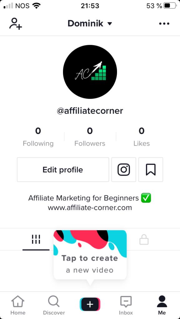 TikTok profile @affiliatecorner