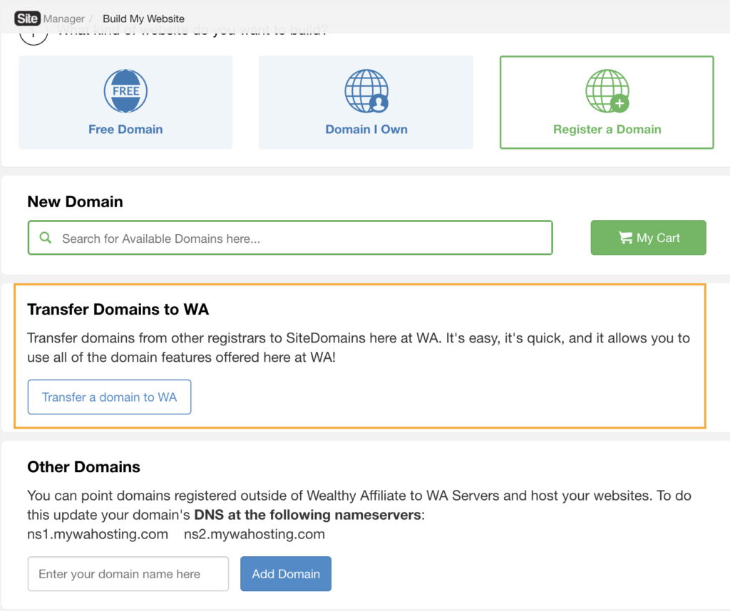 Transfer your own domain to Wealthy Affiliate (orange box)
